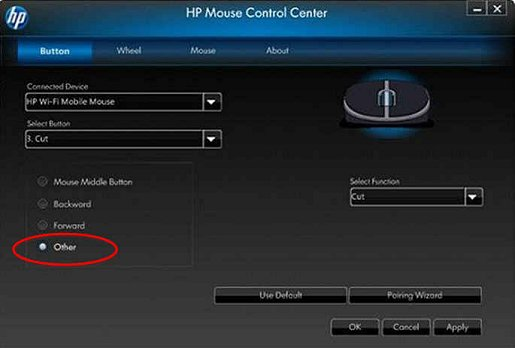 Image of the Mouse Control Center's Button tab - Other.