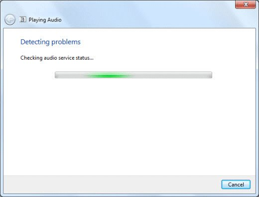 Checking for audio problems progress bar