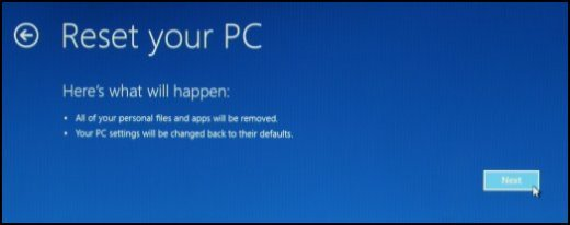 Image of the Reset your PC screen