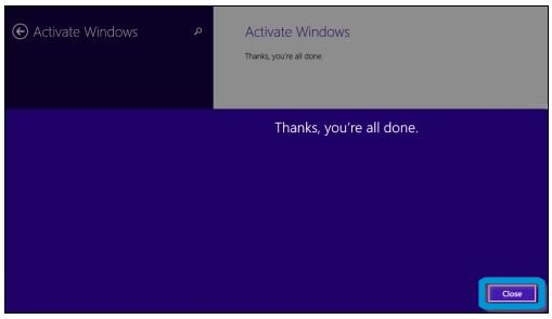 Ecran Activation de Windows après une réussite de l'activation