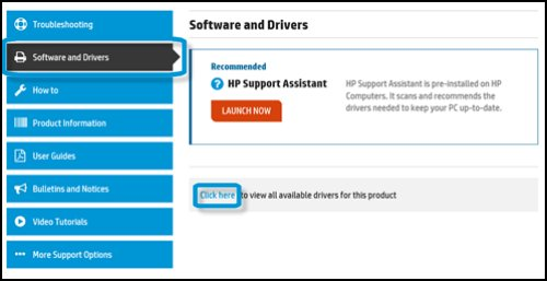 Software and Drivers tab and Click here highlighted