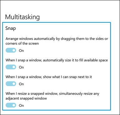 Location of Snap options in Multitasking