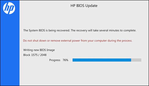 HP BIOS Update screen showing a progress indicator