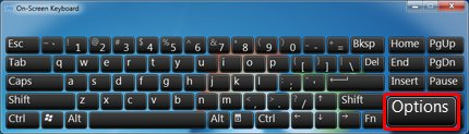 On-screen keyboard with Options selected