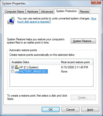 image of system protection tab with D: drive not selected