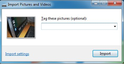 Import Pictures and Videos showing field to rename the photos