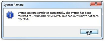 System Restore completed successfully message