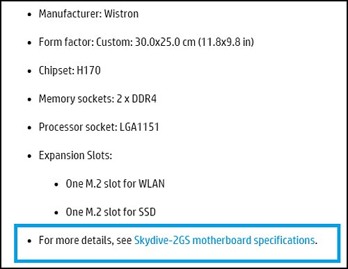 Example of motherboard specification link