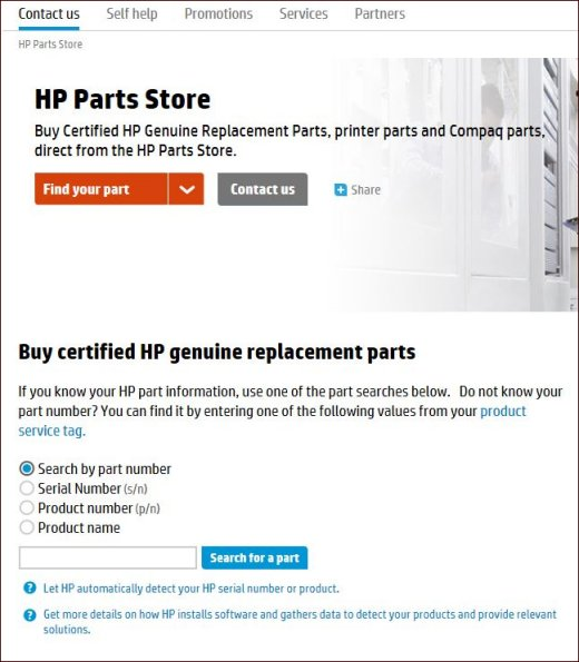 Image of HP Parts Store web page showing parts search options