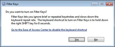 The warning message that appears when Filter Keys are turned on