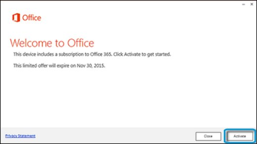 Activating Office 365