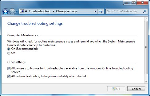 Change troubleshooting settings screen
