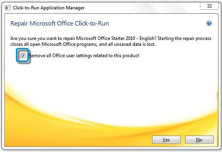 Click to remove user settings in Application Manager