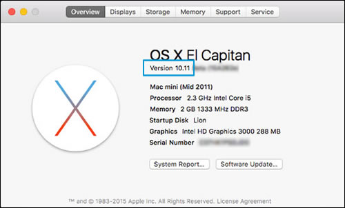 Image: OS X version number