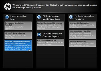 Recovery manager with black background for notebooks manufactured in 2013 or earlier