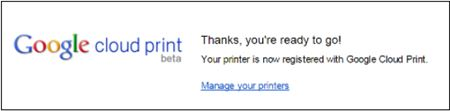 Image shows a Google Cloud print thank you message