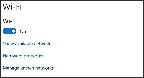 Wi-Fi settings with Wi-Fi on