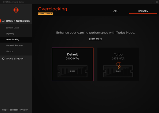 Memory tab in Overclocking screen