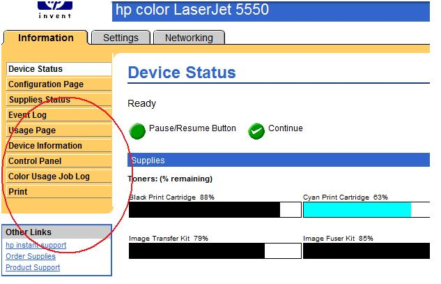 The Normal Home Page Or Information Tab Of EWS Shows Color Usage Job Log Option