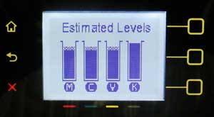 Image: Estimated Ink Level gauge on the control panel.