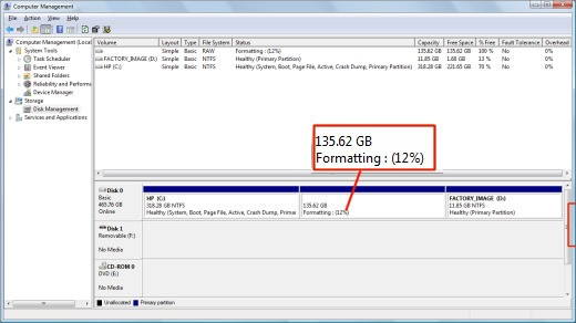 Image of Computer Management window with the formatting percentage displayed.
