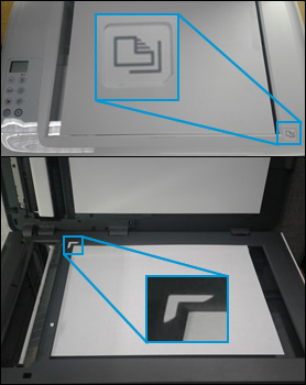 Aligning a document with the guides at the edges of the scanner glass