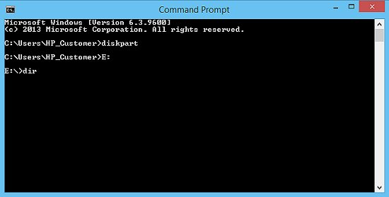 "Command Prompt window with drive letter and ""dir"" command entered"