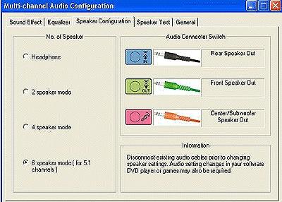 hp and compaq desktop pcs connecting speakers or headphones figure multi channel audio configuration window