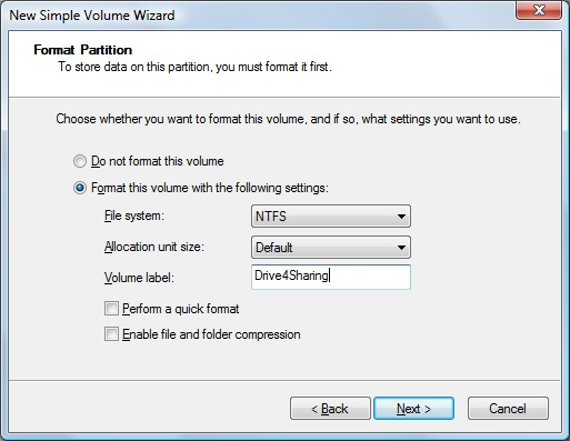 Format Partition window