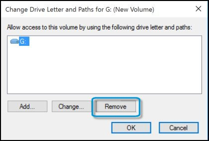 Removing the drive letter
