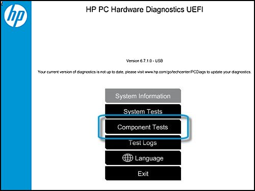 Selecting Component Tests in HP PC Hardware Diagnostic UEFI
