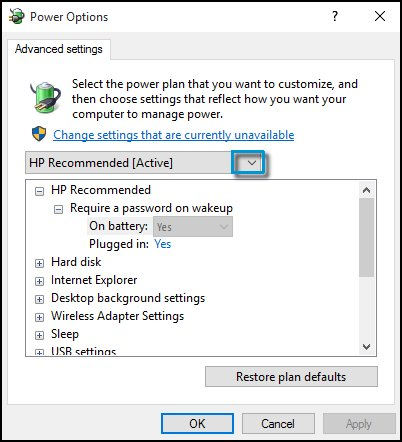 Changing the Advanced settings
