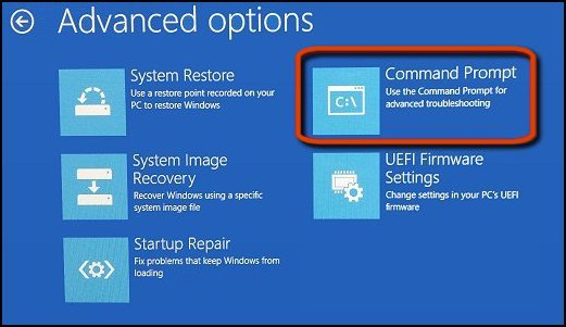 Command Prompt selected in the Advanced options screen