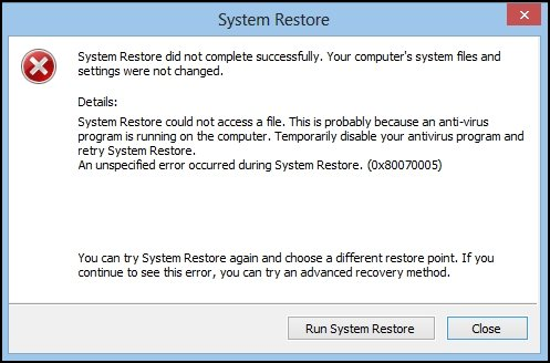 System Restore error message