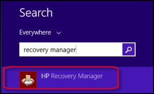 Image of recovery manager search results