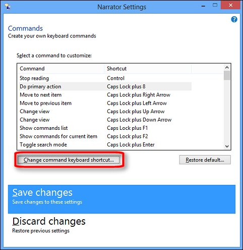 The Commands menu in Narrator Settings with the Change command keyboard shortcut button encircled in red