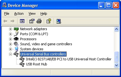 USB controllers in Windows XP