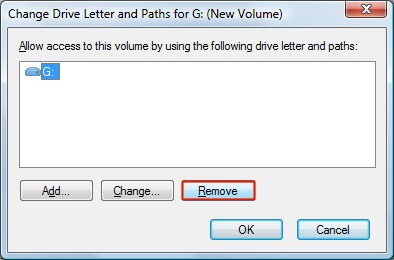 Change Drive Letter window with Remove highlighted