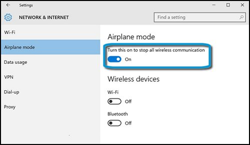 Network & Internet menu with airplane mode set to on