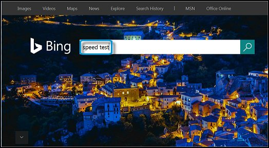 Searching for speed test in Bing