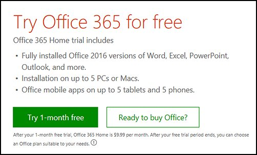 Try Office free, Start your free month