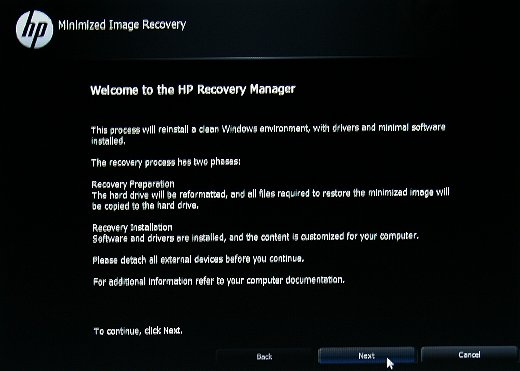 Recovery Manager Welcome screen