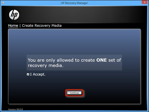 Image of recovery media creation warning