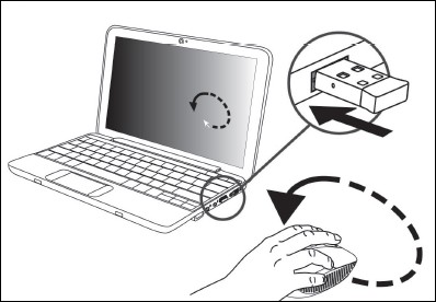 Connecting the USB receiver to the USB connection