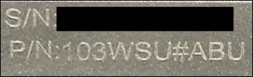 Laser-etched serial number (S/N) and product number (P/N)