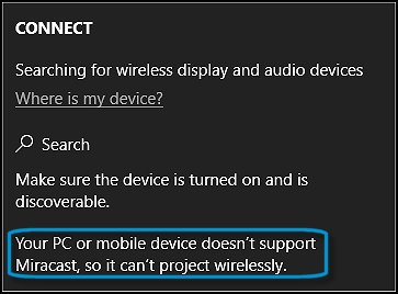 Example of a computer that does not support Miracast