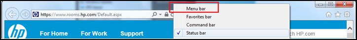 Menu bar selected
