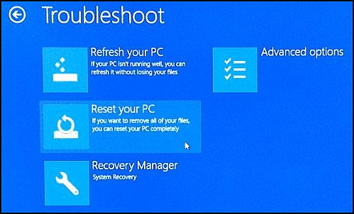 Selecting Reset your PC on the Troubleshoot screen