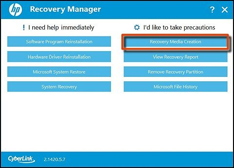 Recovery Media Creation이 선택된 Recovery Manager