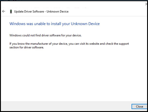 Windows was unable to install your Unknown Device(Windows에서 알 수 없는 장치를 설치하지 못했습니다)